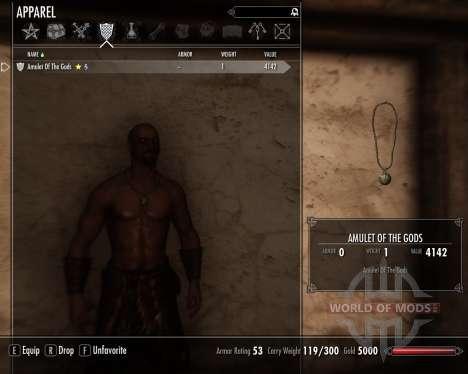 Amulet of the gods for the third Skyrim screenshot