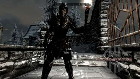Black and gold elven armor for Skyrim