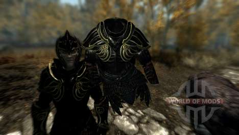 Black and gold elven armor for Skyrim fifth screenshot