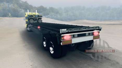 Semitrailer with ATV and barrels for Spin Tires