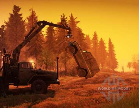 Hoist the crane-manipulator for Spin Tires