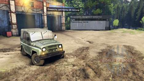 The UAZ-469 with headlight-seeker for Spin Tires