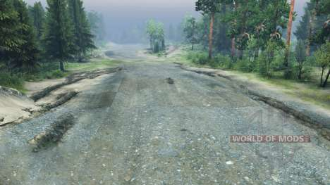 Crushed stone road for Spin Tires