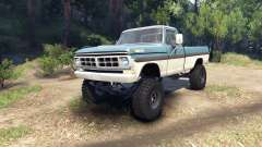Ford F-200 1968 blue and white for Spin Tires