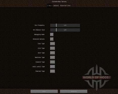 Custom Ore Generation Revival [1.6.2] for Minecraft