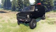 Ford E-350 Econoline 1990 v1.1 flat black for Spin Tires