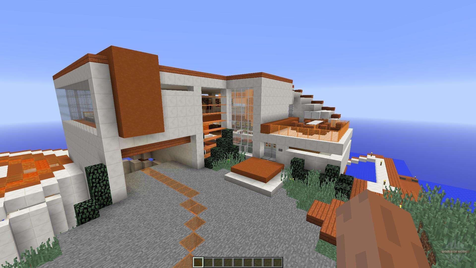 Tony Stark Based Cliffside Mansion For Minecraft - Modern house on cliff