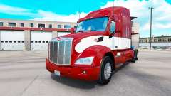 Red-white skin for the truck Peterbilt for American Truck Simulator