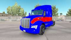 Red and blue skin for the truck Peterbilt for American Truck Simulator