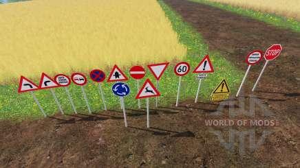 Warning Traffic Signs v1.1 for Farming Simulator 2015