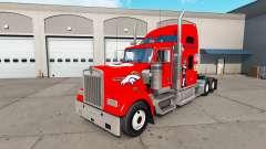 Skin Denver Broncos on the truck Kenworth W900 for American Truck Simulator