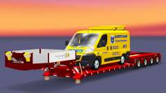 Low bed trawl Doll with a cargo van for Euro Truck Simulator 2