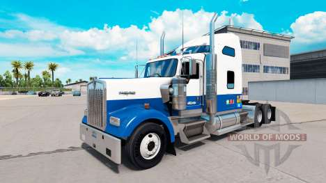 Skin Blue-white-truck Kenworth W900 for American Truck Simulator
