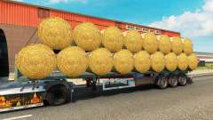 The semitrailer-platform with a load of round bales for Euro Truck Simulator 2