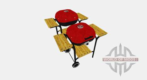 BBQ facilities with wood shelves for Farming Simulator 2017