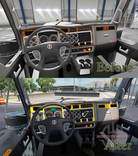 The interior is Yellow-gray to Kenworth W900 for American Truck Simulator