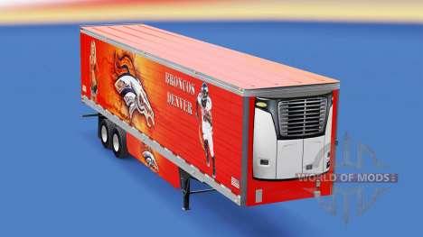 Skin Denver Bronco on refrigerated semi-trailer for American Truck Simulator