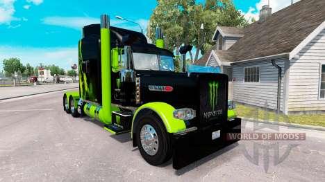 Skin Monster Energy Green on the truck Peterbilt for American Truck Simulator