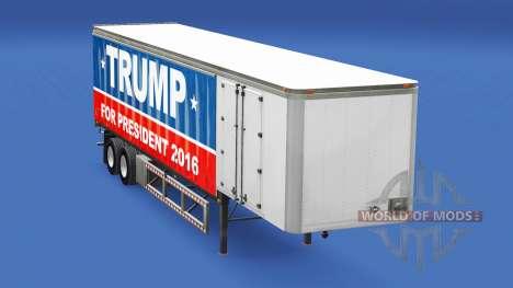 Skin Trump 2016 on a curtain semi-trailer for American Truck Simulator