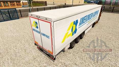Skin Amerongen Kamphuis on a curtain semi-traile for Euro Truck Simulator 2