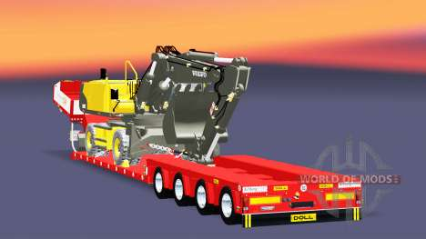 Low bed trawl Doll Vario with excavator Volvo for Euro Truck Simulator 2