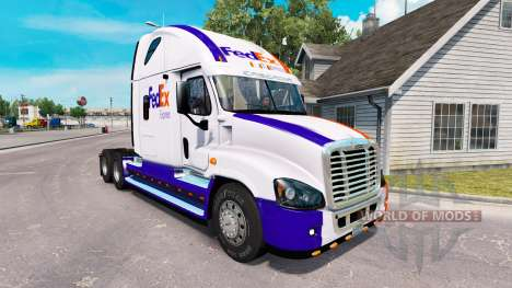 The skin on the FedEx truck Freightliner Cascadi for American Truck Simulator