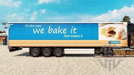 Skin Greggs on a curtain semi-trailer for Euro Truck Simulator 2