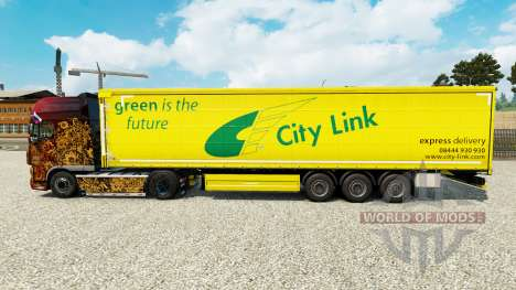 Skin City Link on a curtain semi-trailer for Euro Truck Simulator 2