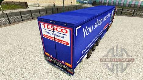 Skin Tesco on a curtain semi-trailer for Euro Truck Simulator 2