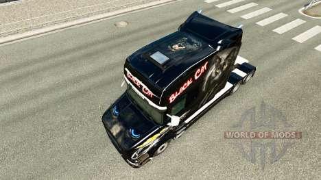 Black Cat skin for Scania T truck for Euro Truck Simulator 2