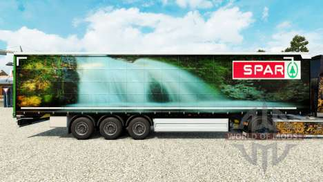Skin Spar Natur Pur on a curtain semi-trailer for Euro Truck Simulator 2