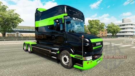 Skin Black-green-for truck Scania T for Euro Truck Simulator 2