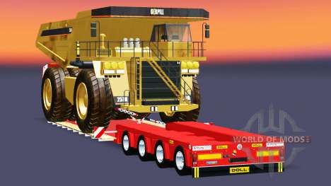 Low bed trawl Doll Vario with Caterpillar 257M for Euro Truck Simulator 2