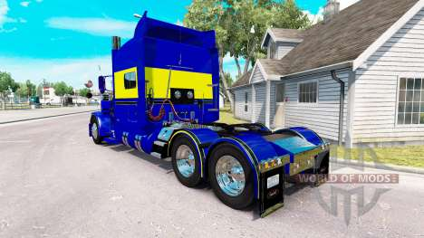 Skin Blue-yellow for the truck Peterbilt 389 for American Truck Simulator