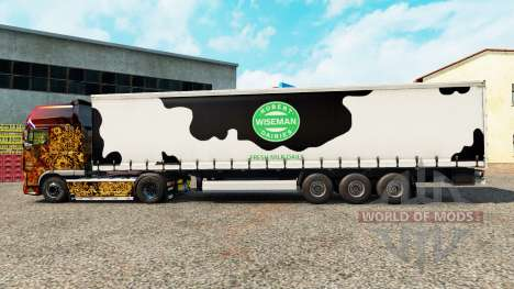 Skin Robert Wiseman Dairie on a curtain semi-tra for Euro Truck Simulator 2