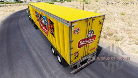 Skin Sabritas on a curtain semi-trailer for American Truck Simulator