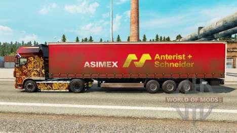 Skin Asimex on a curtain semi-trailer for Euro Truck Simulator 2