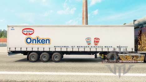 Skin Dr. Oetker Onken on a curtain semi-trailer for Euro Truck Simulator 2