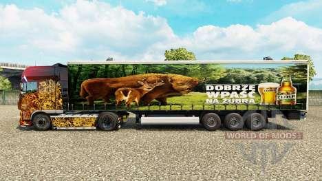 Skin Zubr on a curtain semi-trailer for Euro Truck Simulator 2