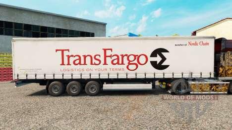 Skin Trans Fargo on a curtain semi-trailer for Euro Truck Simulator 2