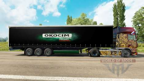 Skin Okocim on a curtain semi-trailer for Euro Truck Simulator 2