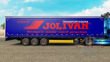 Skin Jolivan Transportes on a curtain semi-trail for Euro Truck Simulator 2