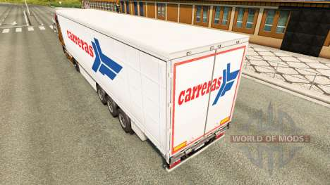 Skin Carreras on a curtain semi-trailer for Euro Truck Simulator 2
