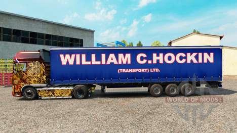 The William C. Hockin skin on the trailer curtai for Euro Truck Simulator 2