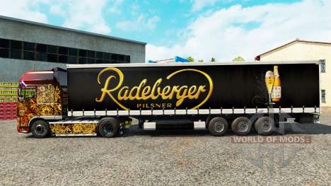 Skin Radeberger Pilsner on a curtain semi-traile for Euro Truck Simulator 2
