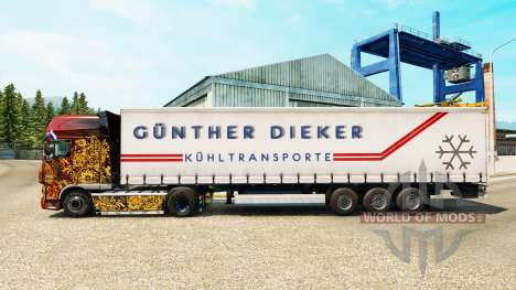 Skin Gunther Dieker on a curtain semi-trailer for Euro Truck Simulator 2