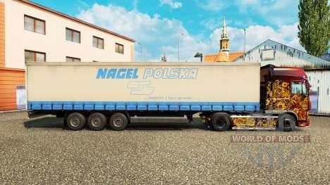 The skin on Nagel Polska curtain semi-trailer for Euro Truck Simulator 2