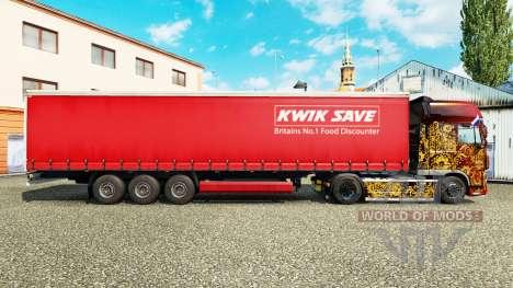 Skin Kwik Save on curtain semi-trailer for Euro Truck Simulator 2