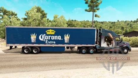 Corona Extra skin on the reefer trailer for American Truck Simulator