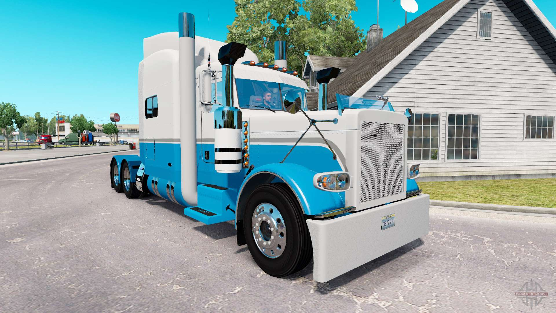 Skin Baby Blue And White For The Truck Peterbilt 389 For American Truck Simulator